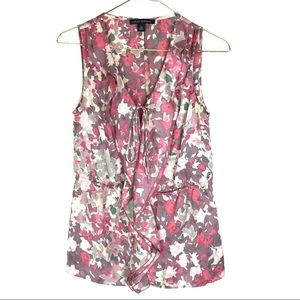 Banana Republic Floral Peplum Sleeveless Top Vneck